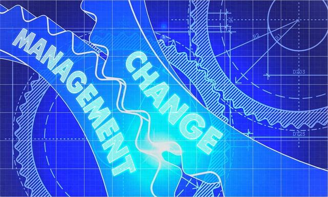 Change Management on the Mechanism of Cogwheels. Technical Blueprint illustration with Glow Effect. 3D Render..jpeg